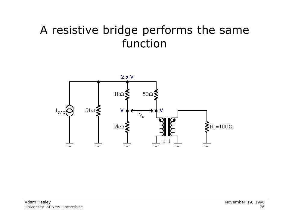 Adam Healey University of New Hampshire November 19, 1998 26 A resistive bridge performs the same function