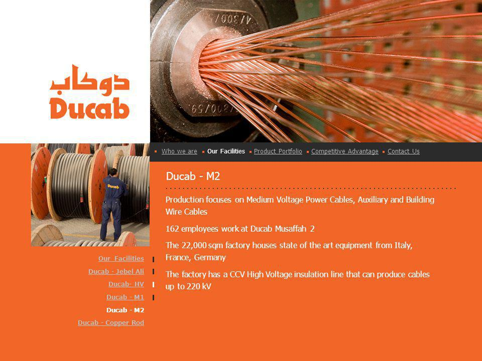 Ducab - M2 Production focuses on Medium Voltage Power Cables, Auxiliary and Building Wire Cables 162 employees work at Ducab Musaffah 2 The 22,000 sqm factory houses state of the art equipment from Italy, France, Germany The factory has a CCV High Voltage insulation line that can produce cables up to 220 kV Who we areWho we are Our Facilities Product Portfolio Competitive Advantage Contact UsProduct PortfolioCompetitive AdvantageContact Us Our Facilities Ducab - Jebel Ali Ducab- HV Ducab - M1 Ducab - M2 Ducab - Copper Rod