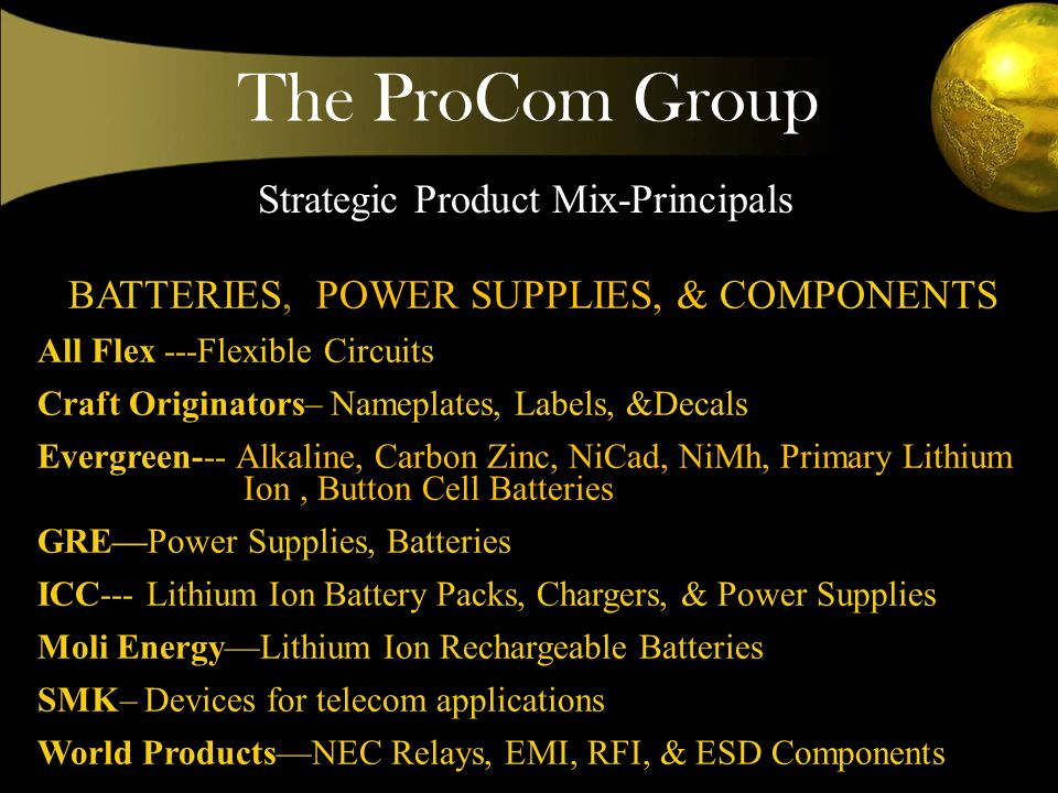 The ProCom Group Strategic Product Mix-Principals BATTERIES, POWER SUPPLIES, & COMPONENTS All Flex ---Flexible Circuits Craft Originators– Nameplates, Labels, &Decals Evergreen--- Alkaline, Carbon Zinc, NiCad, NiMh, Primary Lithium Ion, Button Cell Batteries GREPower Supplies, Batteries ICC--- Lithium Ion Battery Packs, Chargers, & Power Supplies Moli EnergyLithium Ion Rechargeable Batteries SMK– Devices for telecom applications World ProductsNEC Relays, EMI, RFI, & ESD Components