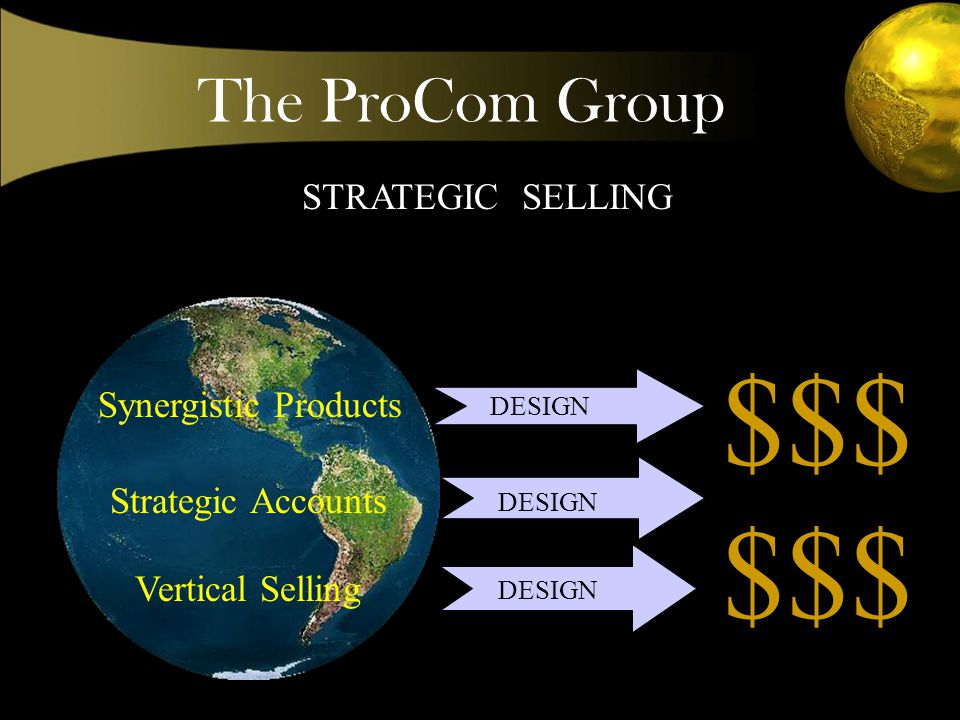 The ProCom Group STRATEGIC SELLING Synergistic Products Strategic Accounts Vertical Selling DESIGN $$$