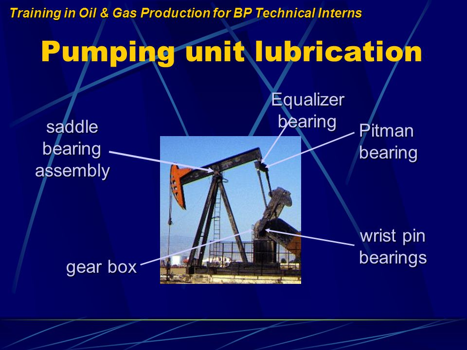 Training in Oil & Gas Production for BP Technical Interns Pumping unit lubrication saddle bearing assembly Equalizer bearing Pitman bearing wrist pin bearings gear box