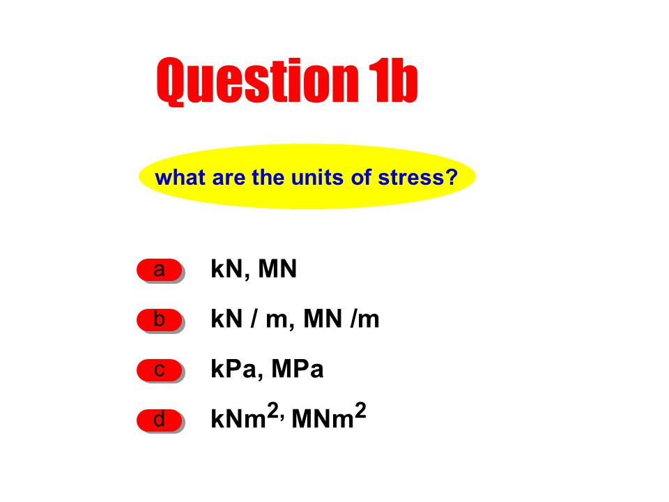what are the units of stress Question 1b kN, MN a kPa, MPa c kN / m, MN /m b kNm 2, MNm 2 d