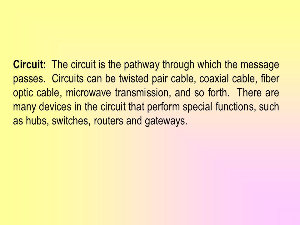 Circuit: The circuit is the pathway through which the message passes.