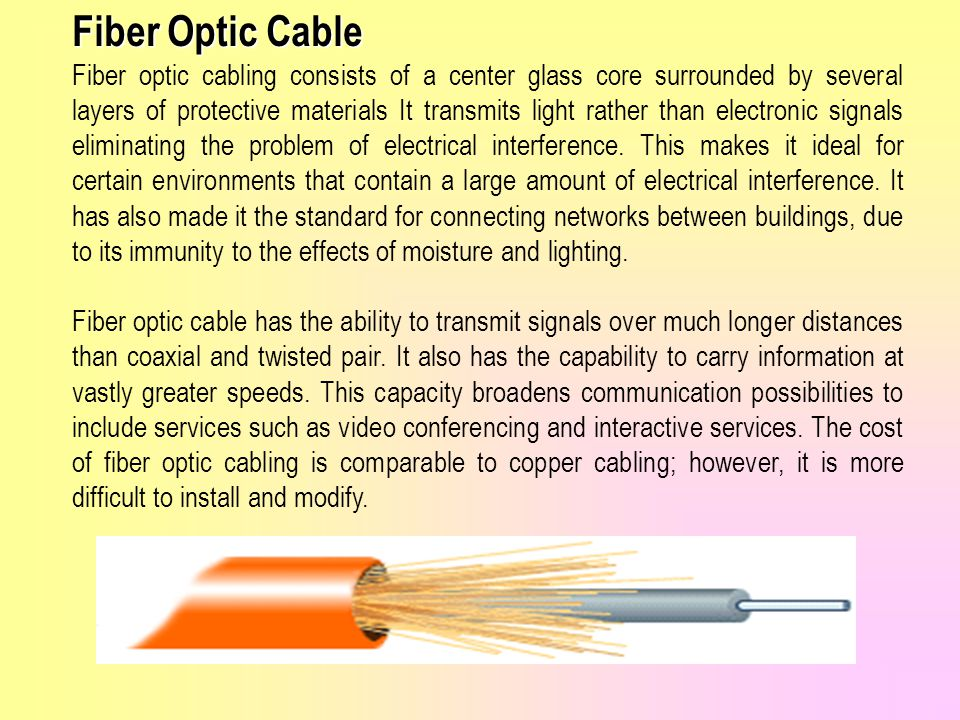 Fiber Optic Cable Fiber optic cabling consists of a center glass core surrounded by several layers of protective materials It transmits light rather than electronic signals eliminating the problem of electrical interference.