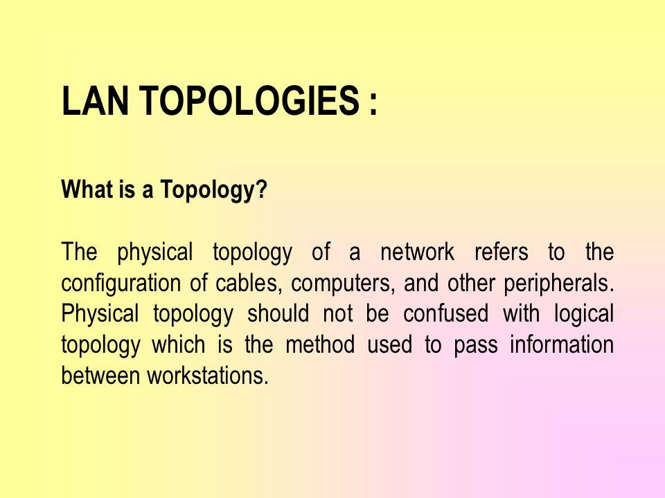 LAN TOPOLOGIES : What is a Topology.