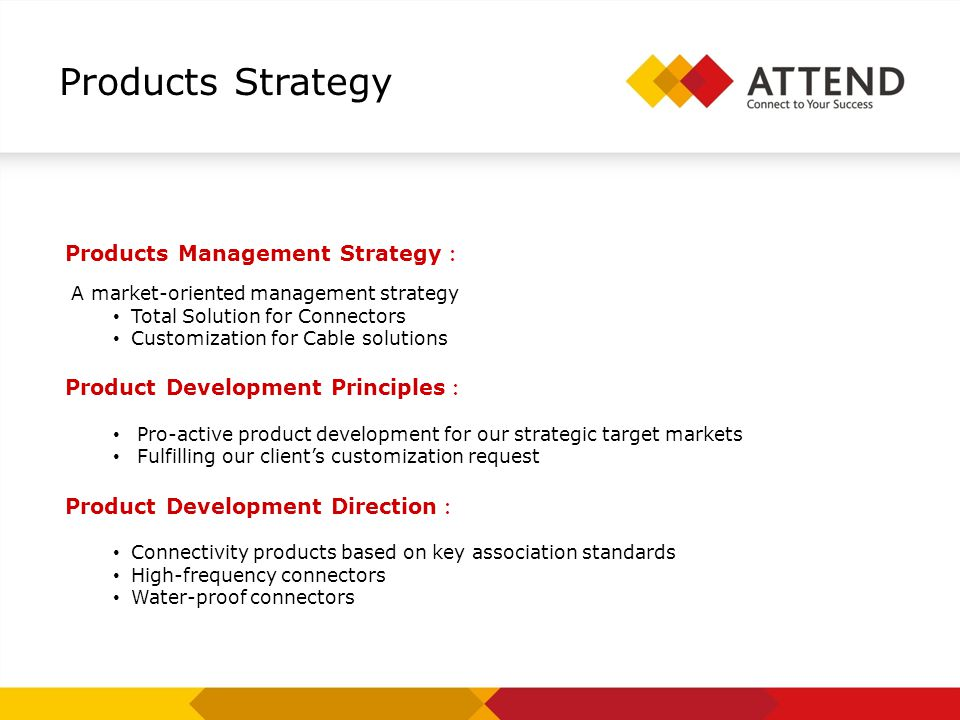 Products Management Strategy A market-oriented management strategy Total Solution for Connectors Customization for Cable solutions Product Development Principles Pro-active product development for our strategic target markets Fulfilling our clients customization request Product Development Direction Connectivity products based on key association standards High-frequency connectors Water-proof connectors Products Strategy
