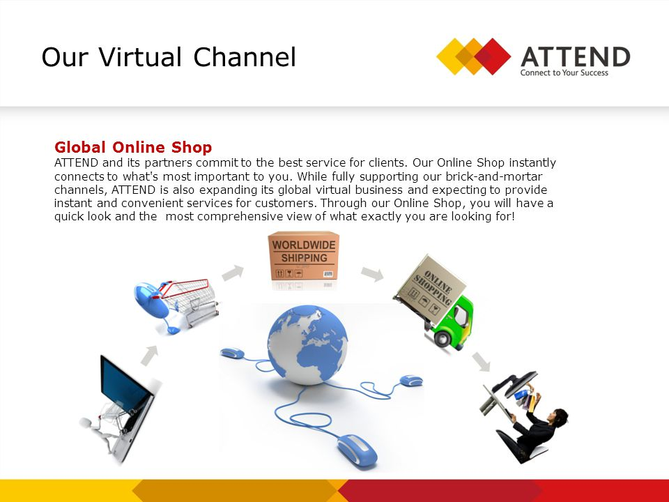 Our Virtual Channel Global Online Shop ATTEND and its partners commit to the best service for clients.