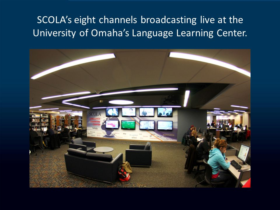 SCOLAs eight channels broadcasting live at the University of Omahas Language Learning Center.