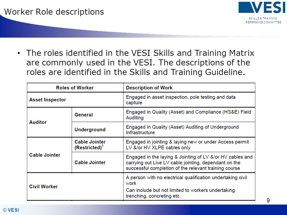 © VESI SKILLS & TRAINING REFERENCE COMMITTEE Training Compliance All employers to ensure that the training providers they have engaged comply with the VESI Skills and Training guideline Training providers ensure that they are training to the VESI Skill and training guideline and they are meeting the requirements of the network operator All Training and Authorisation requirements shall be current at all times as per the VESI Skills and Training matrix Expired training and Authorisations shall result in no Network access 10