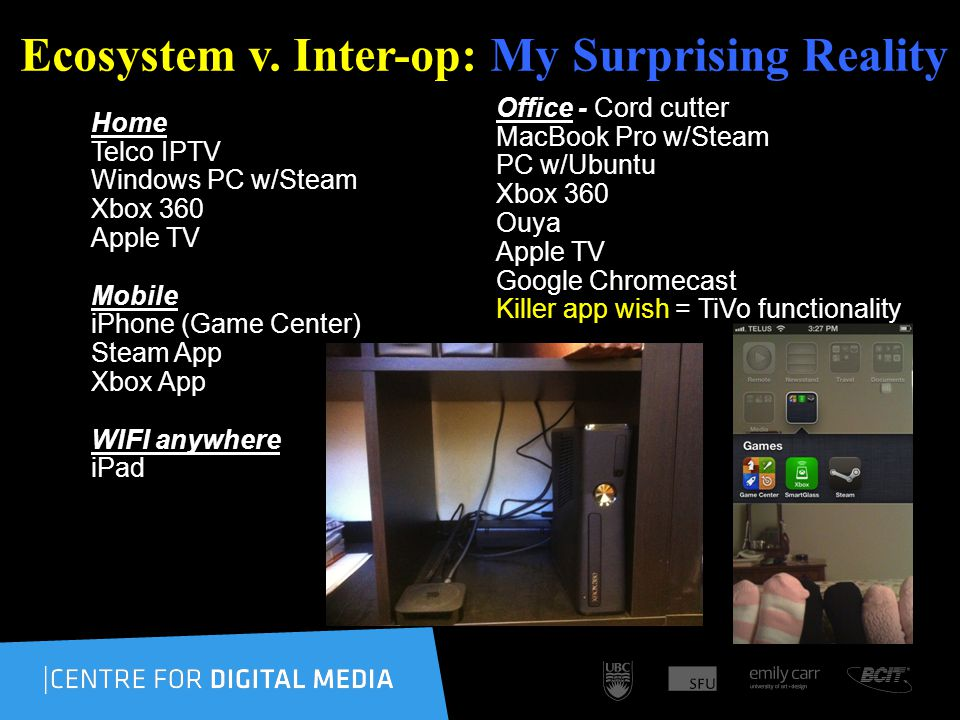 Ecosystem v. Inter-op: My Surprising Reality Home Telco IPTV Windows PC w/Steam Xbox 360 Apple TV Mobile iPhone (Game Center) Steam App Xbox App WIFI
