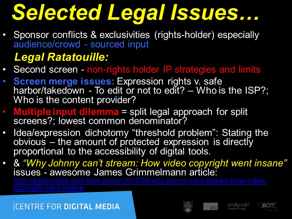 Selected Legal Issues… Sponsor conflicts & exclusivities (rights-holder) especially audience/crowd - sourced input Legal Ratatouille: Second screen -
