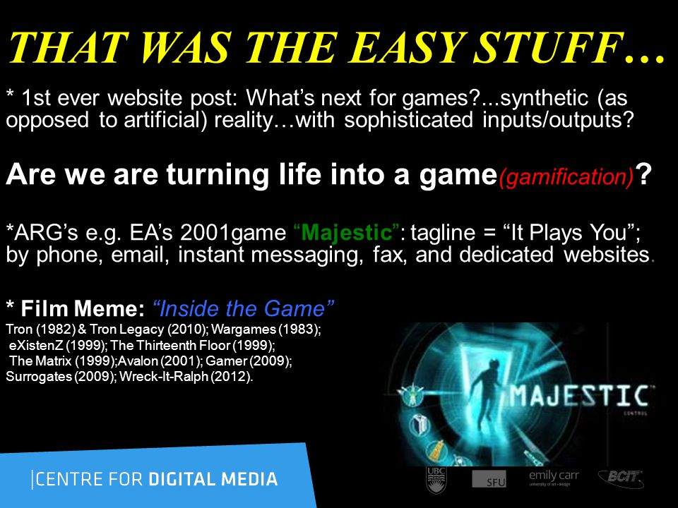 THAT WAS THE EASY STUFF… * 1st ever website post: Whats next for games ...synthetic (as opposed to artificial) reality…with sophisticated inputs/outputs.