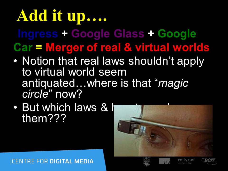 Add it up…. Ingress + Google Glass + Google Car = Merger of real & virtual worlds Notion that real laws shouldnt apply to virtual world seem antiquate