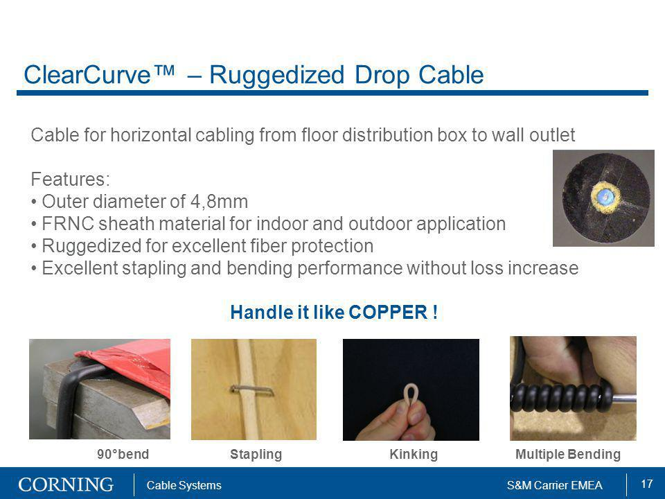 17 Cable SystemsS&M Carrier EMEA ClearCurve – Ruggedized Drop Cable Cable for horizontal cabling from floor distribution box to wall outlet Features:
