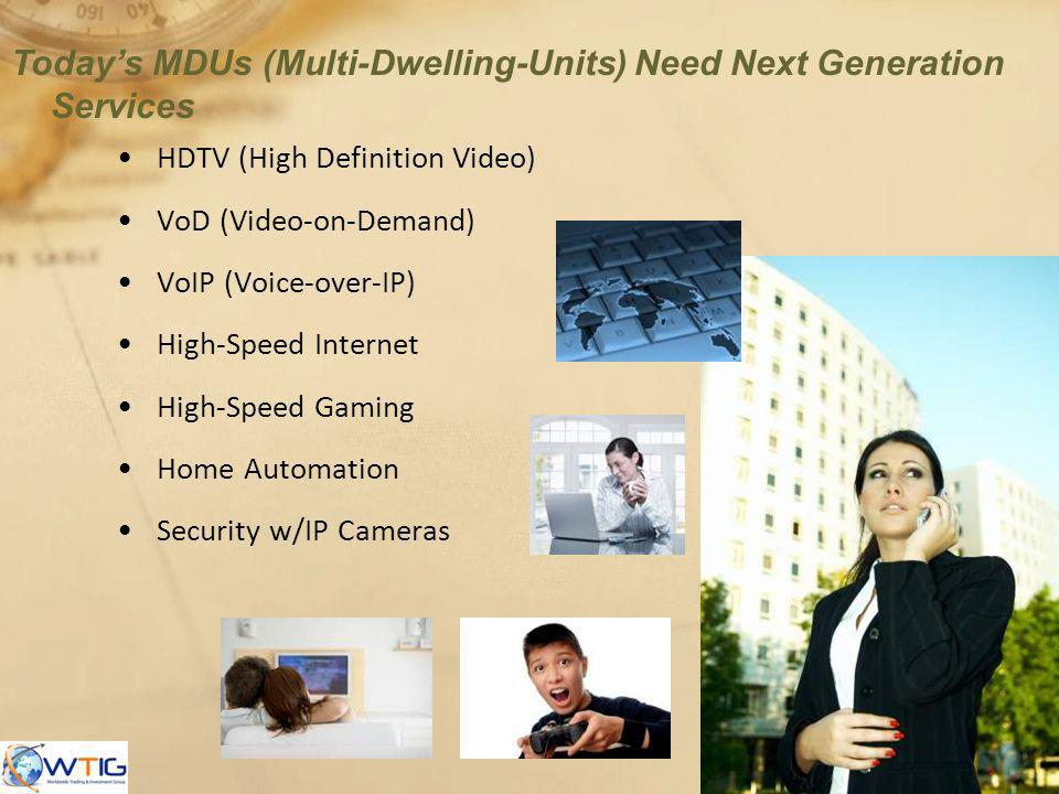 HDTV (High Definition Video) VoD (Video-on-Demand) VoIP (Voice-over-IP) High-Speed Internet High-Speed Gaming Home Automation Security w/IP Cameras To