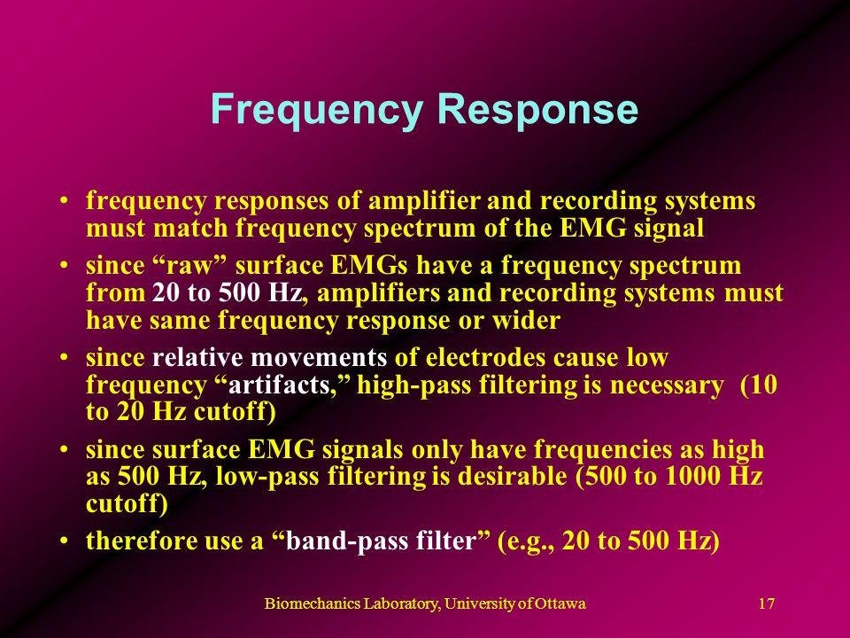 Biomechanics Laboratory, University of Ottawa18 Frequency Response Typical frequency spectrum of surface EMG