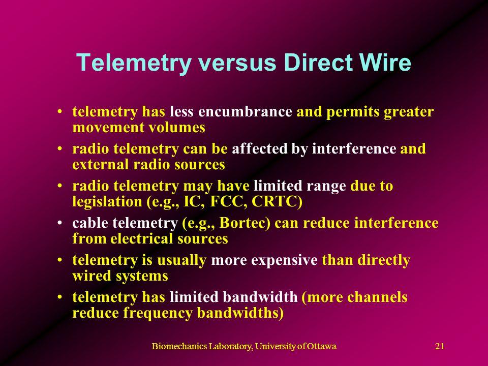 Biomechanics Laboratory, University of Ottawa22 Telemetered EMG Delsyss Trigno EMG and accelerometry telemetry system