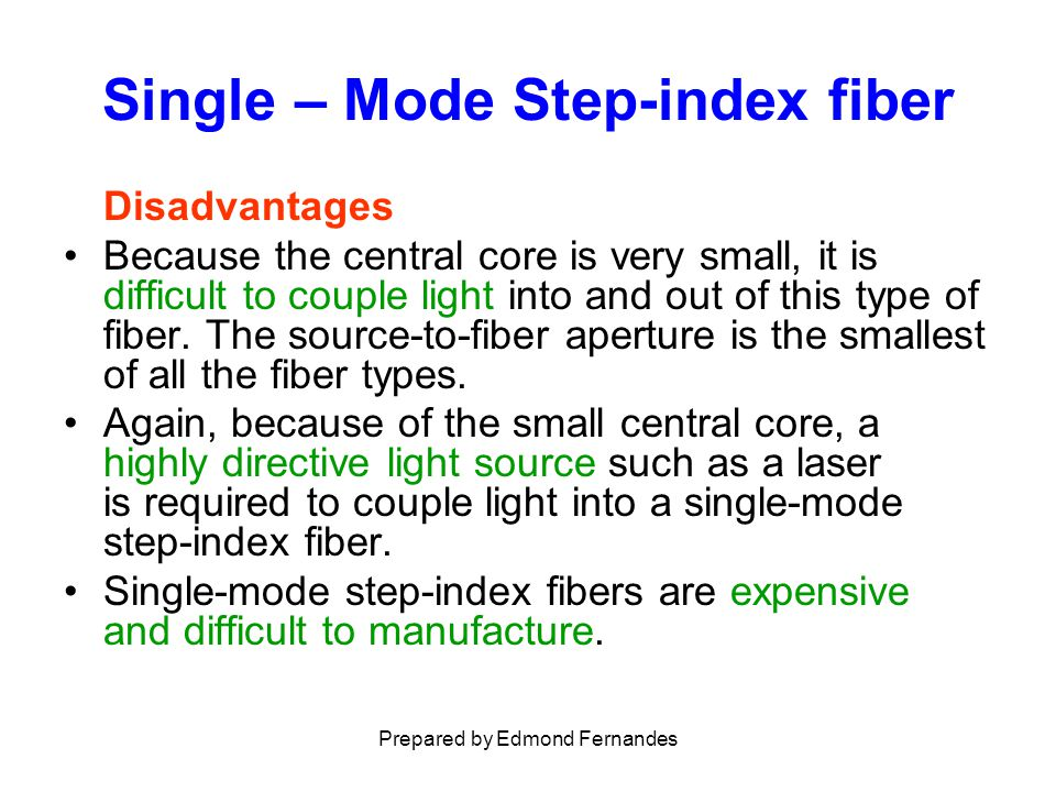Multimode Step-index fiber Advantages Multimode step-index fibers are inexpensive and simple to manufacture.