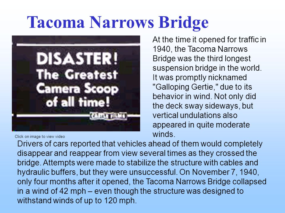 At the time it opened for traffic in 1940, the Tacoma Narrows Bridge was the third longest suspension bridge in the world.
