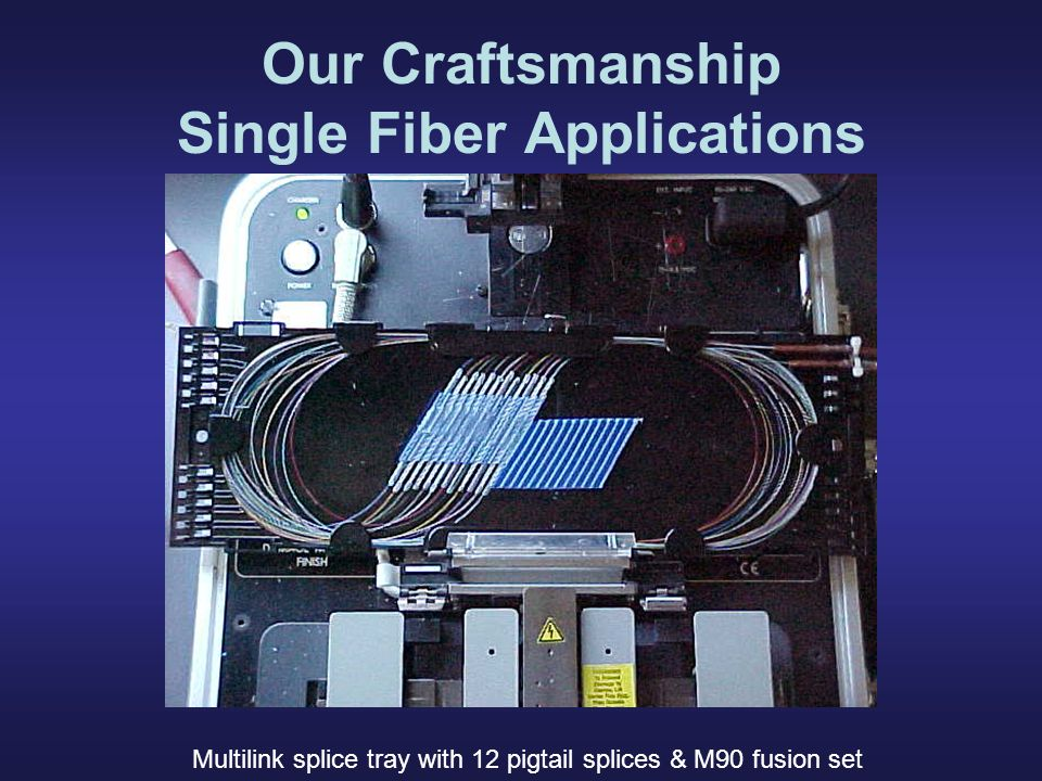 Our Craftsmanship Single Fiber Applications Multilink splice tray with 12 pigtail splices & M90 fusion set