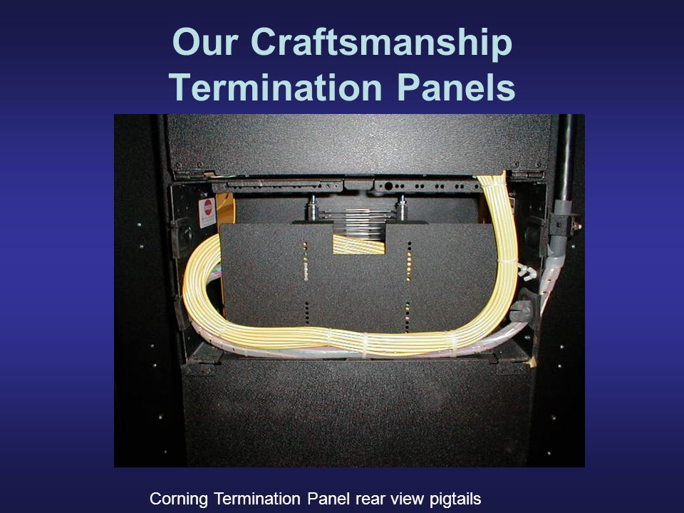 Our Craftsmanship Termination Panels Corning Termination Panel rear view pigtails