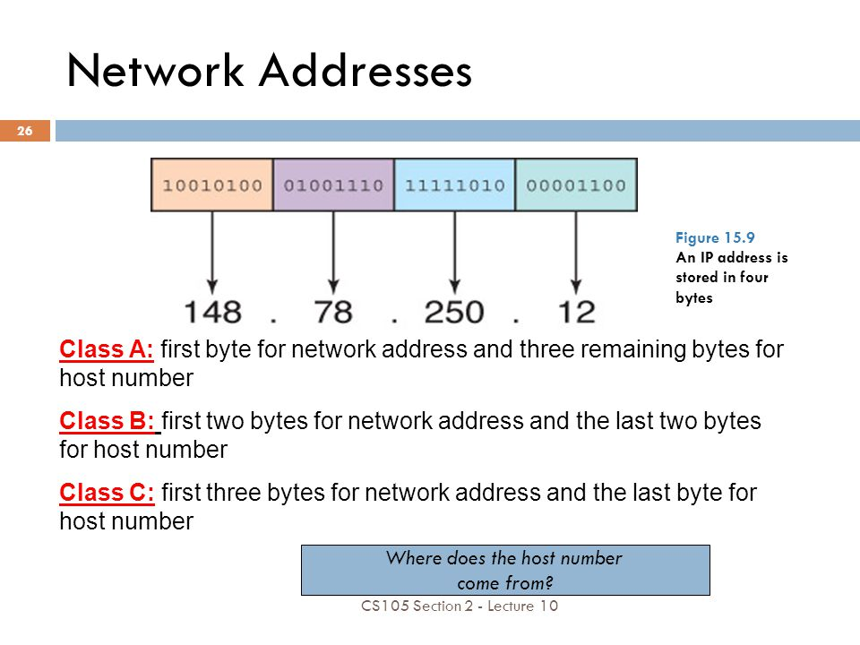 Network Addresses Class A: first byte for network address and three remaining bytes for host number Class B: first two bytes for network address and t