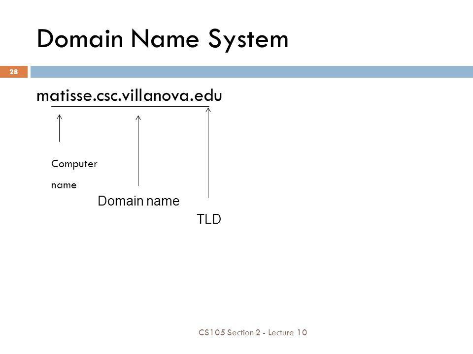 Domain Name System matisse.csc.villanova.edu Computer name Domain name TLD CS105 Section 2 - Lecture 10 28