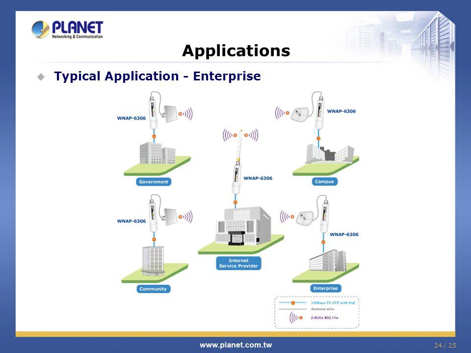24 / 25 Applications Typical Application - Enterprise