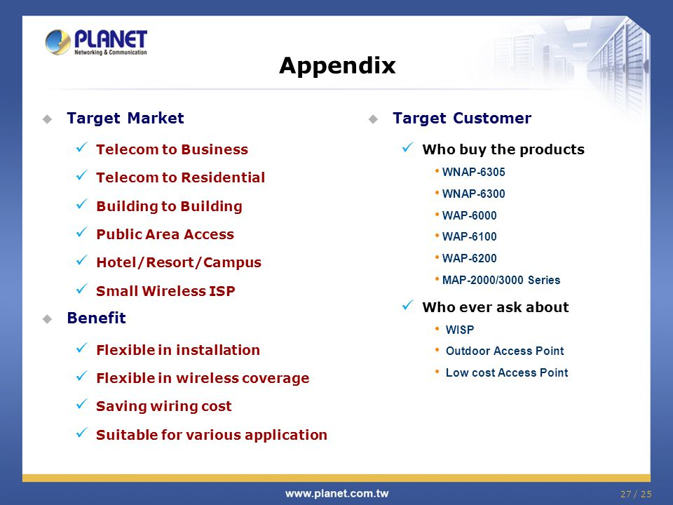 27 / 25 Appendix Target Market Telecom to Business Telecom to Residential Building to Building Public Area Access Hotel/Resort/Campus Small Wireless I