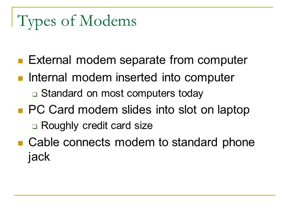 Modem Short for modulator/demodulator Converts digital signal to analog and vice versa