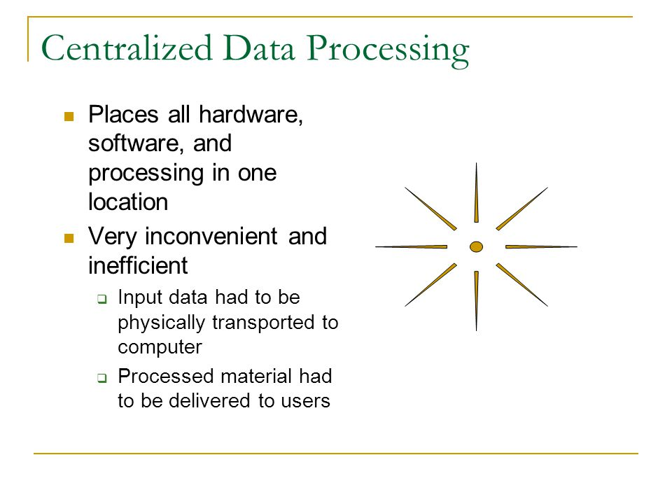 Centralized Data Processing Places all hardware, software, and processing in one location Very inconvenient and inefficient Input data had to be physically transported to computer Processed material had to be delivered to users