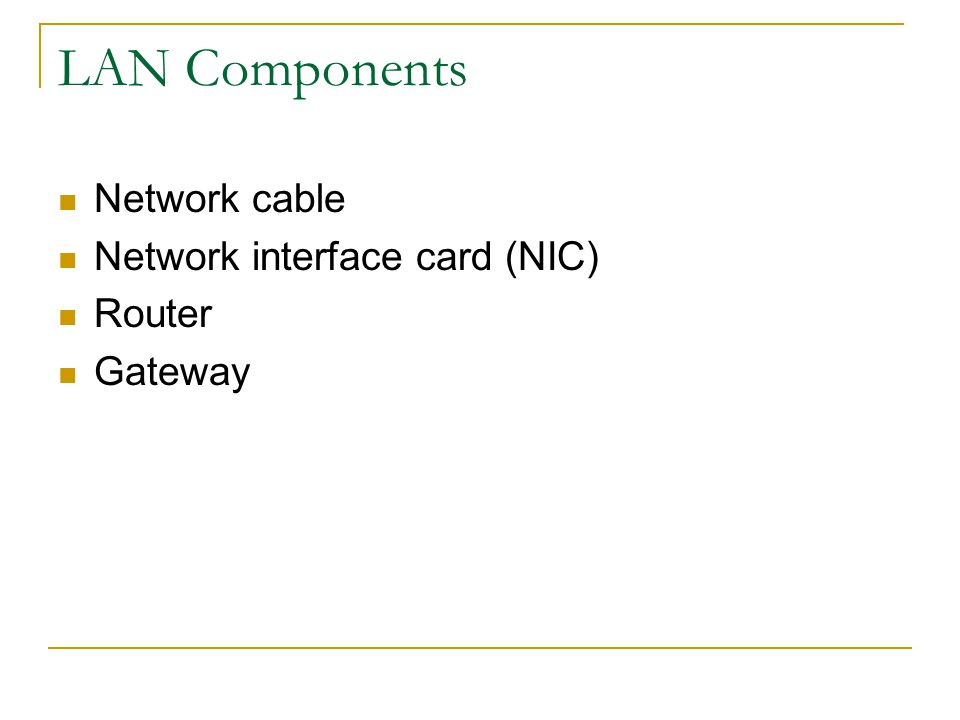 Local Area Network (LAN) A collection of computers that share hardware, software, and data Typically personal computers Typically within an office or