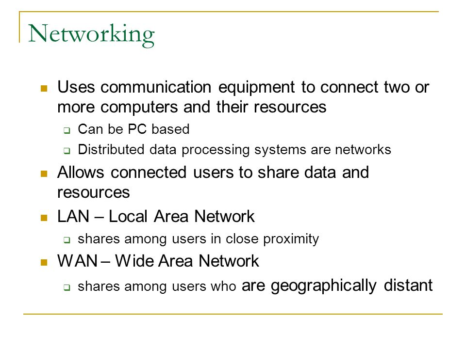 Network Uses Electronic mail (e-mail) Facsimile (fax) technology Groupware Teleconferencing Electronic data interchange Electronic fund transfers Computer commuting The Internet