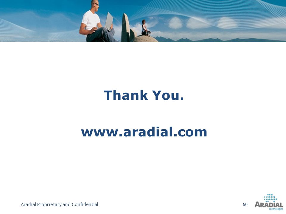 Thank You. www.aradial.com Aradial Proprietary and Confidential60
