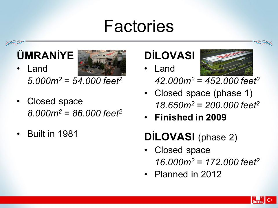 Factories ÜMRANİYE Land 5.000m 2 = 54.000 feet 2 Closed space 8.000m 2 = 86.000 feet 2 Built in 1981 DİLOVASI Land 42.000m 2 = 452.000 feet 2 Closed space (phase 1) 18.650m 2 = 200.000 feet 2 Finished in 2009 DİLOVASI (phase 2) Closed space 16.000m 2 = 172.000 feet 2 Planned in 2012