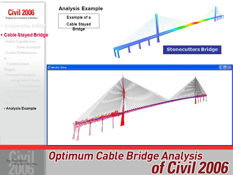 Suspension Bridge Initial Equilibrium State Analysis Cable Pretensions in Construction Stages Forward Analysis using Initial State Pretensions The Calculation of the Closing Forces Analysis Example Cable Stayed Bridge Analysis Example Example of a Cable Stayed Bridge Initial Equilibrium State Analysis Cable Pretensions in Construction Stages Forward Analysis using Initial State Pretensions The Calculation of the Closing Forces Analysis Example Stonecutters Bridge