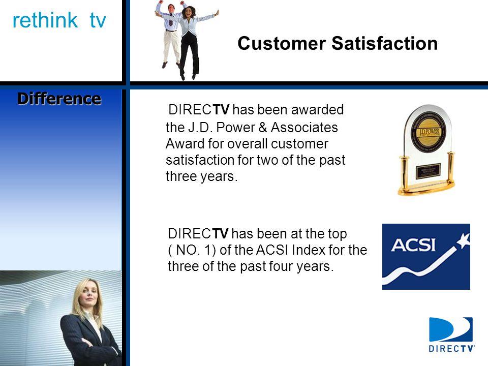 rethink tv Customer Satisfaction DIRECTV has been awarded the J.D.