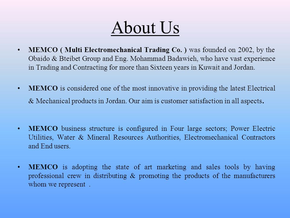 PRODUCTS MEMCO specialized in sales and supply of Electromechanical products which includes: 1.