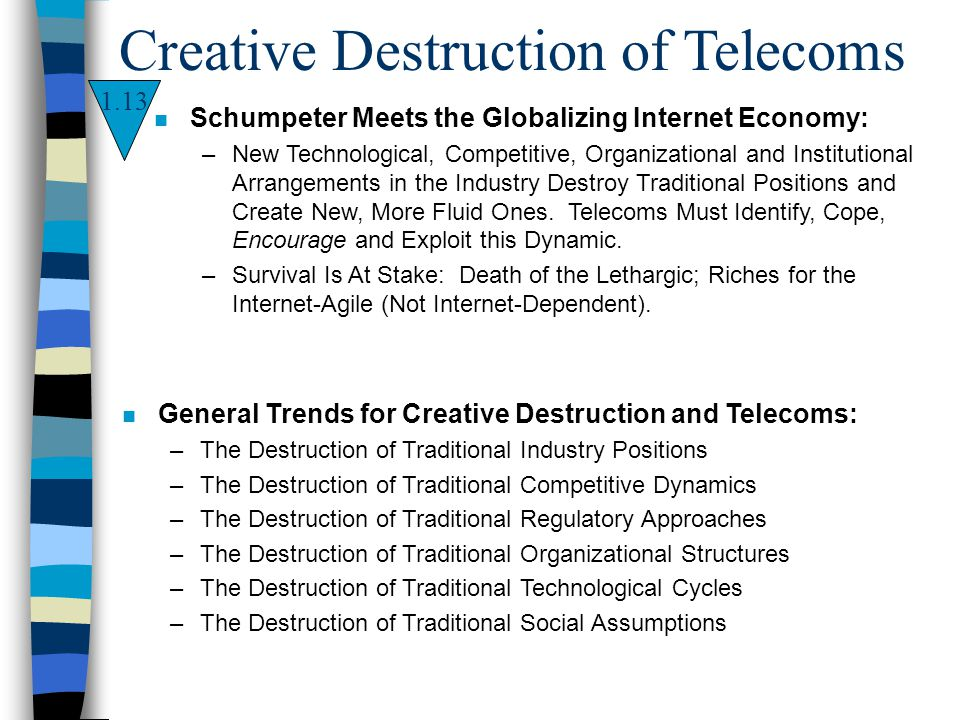 1.13 Creative Destruction of Telecoms n Schumpeter Meets the Globalizing Internet Economy: –New Technological, Competitive, Organizational and Institu