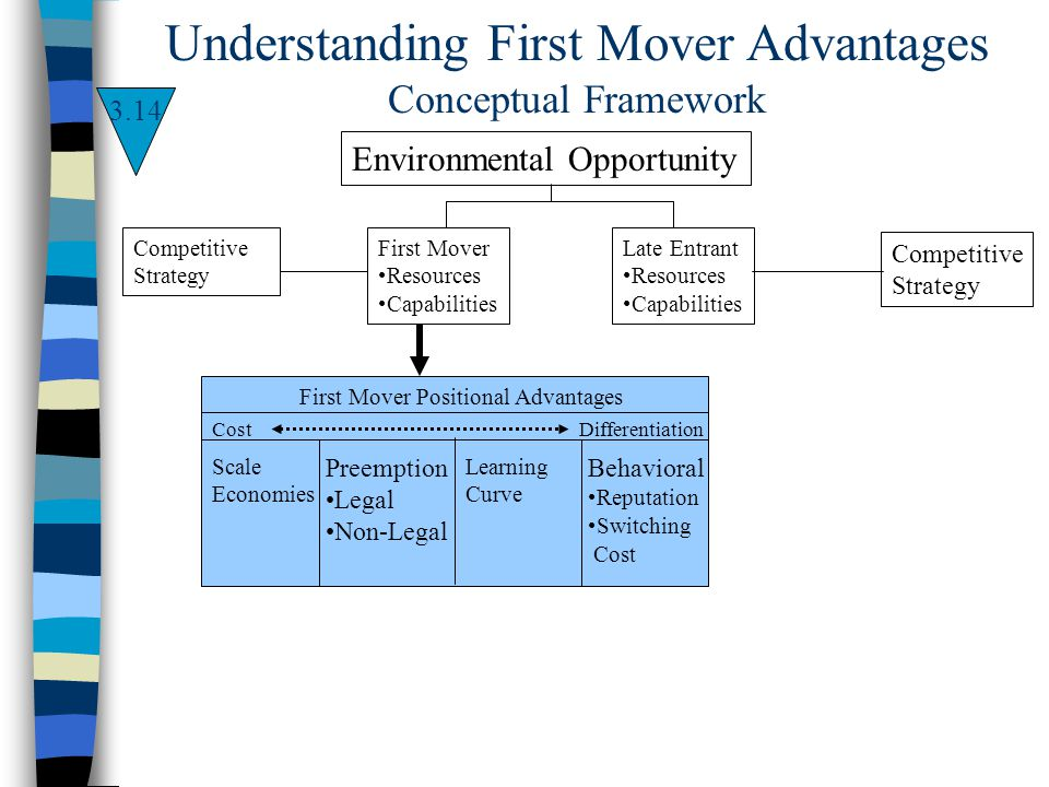 Environmental Opportunity First Mover Resources Capabilities Competitive Strategy Late Entrant Resources Capabilities Competitive Strategy First Mover