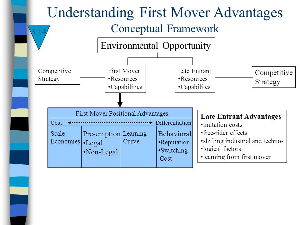 Environmental Opportunity First Mover Resources Capabilities Competitive Strategy Late Entrant Resources Capabilites Competitive Strategy First Mover
