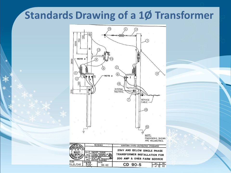 Standards Drawing of a 1Ø Transformer