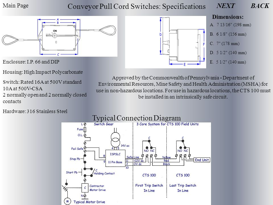 NEXT Conveyor Pull Cord Switches: Specifications Dimensions: A.