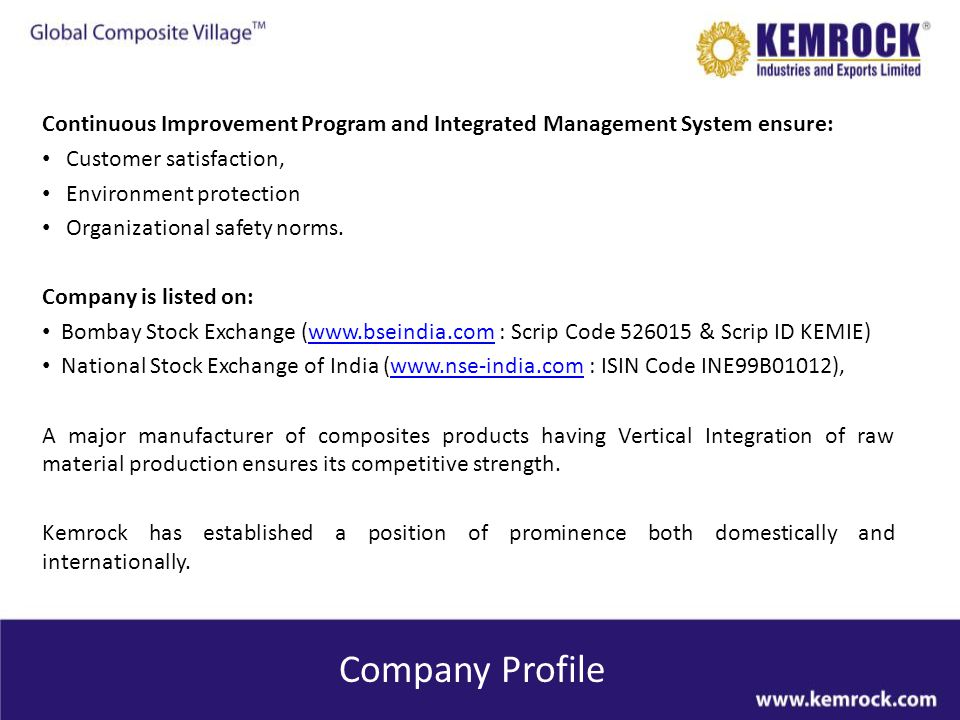 Compression Moulding Division Kemrock manufactures its own moulding compounds for captive use.