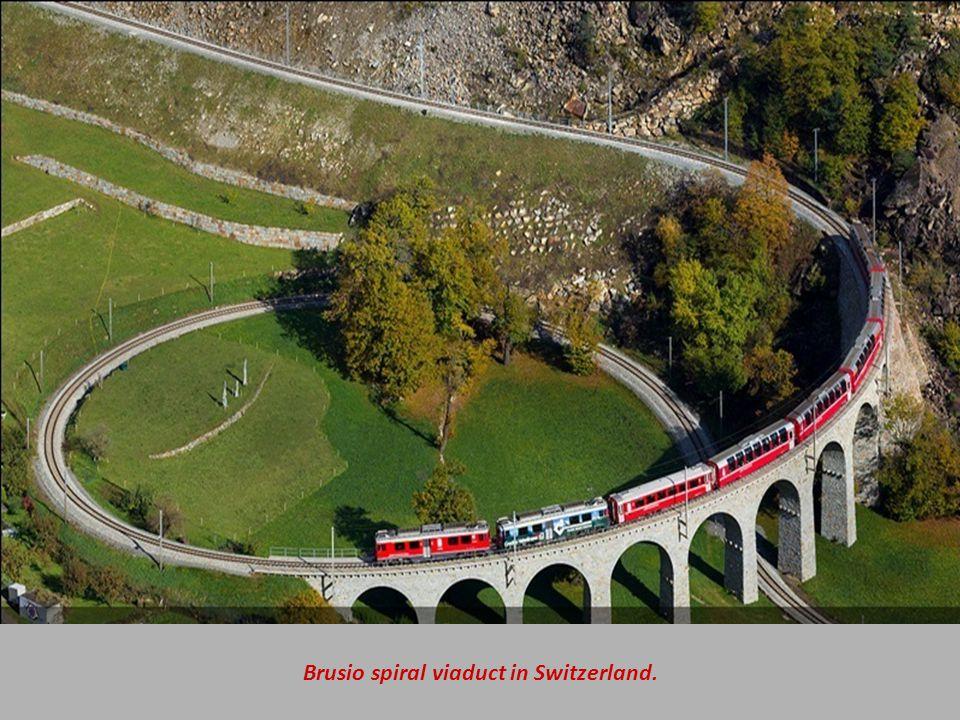Brusio spiral viaduct in Switzerland.