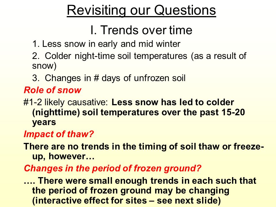 Revisiting our Questions I. Trends over time 1. Less snow in early and mid winter 2. Colder night-time soil temperatures (as a result of snow) 3. Chan