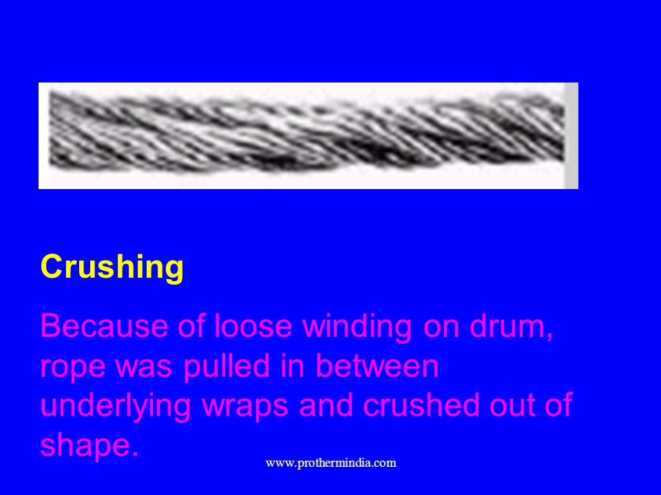 Crushing Because of loose winding on drum, rope was pulled in between underlying wraps and crushed out of shape. www.prothermindia.com