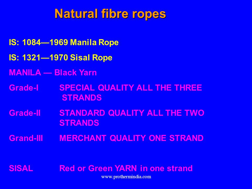 Natural fibre ropes IS: 10841969 Manila Rope IS: 13211970 Sisal Rope MANILA Black Yarn Grade-ISPECIAL QUALITY ALL THE THREE STRANDS Grade-IISTANDARD Q