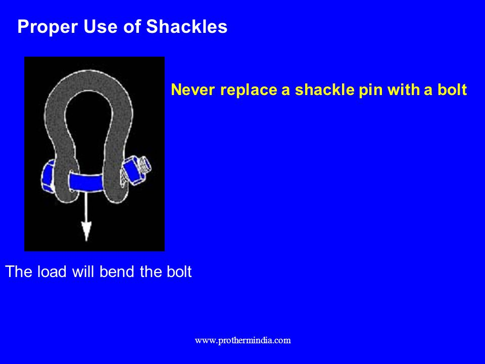 Proper Use of Shackles Never replace a shackle pin with a bolt The load will bend the bolt www.prothermindia.com