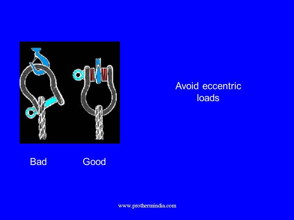 Avoid eccentric loads Bad Good www.prothermindia.com
